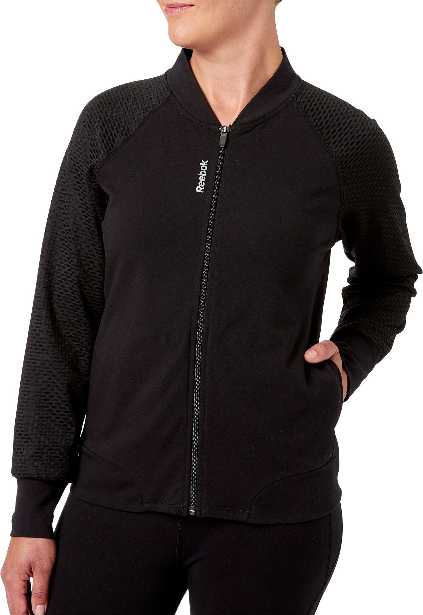 Reebok Women's Stretch Cotton Bomber Jacket | DICK'S Sporting Goods