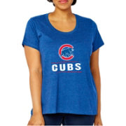 Soft As A Grape Women's Chicago Cubs Tri-Blend Crew T-Shirt