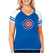 Soft As A Grape Women's Chicago Cubs Tri-Blend V-Neck T-Shirt