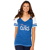 Soft As A Grape Women's Chicago Cubs White/Royal V-Neck Shirt