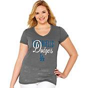 Soft As A Grape Women's Los Angeles Dodgers Tri-Blend Grey V-Neck T-Shirt