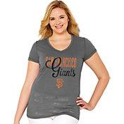 Soft As A Grape Women's San Francisco Giants Tri-Blend Grey V-Neck T-Shirt