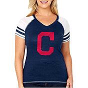 Soft As A Grape Women's Cleveland Indians Tri-Blend V-Neck T-Shirt