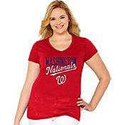 Soft As A Grape Women's Washington Nationals Tri-Blend Red V-Neck T-Shirt