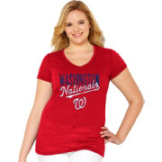 Soft As A Grape Women's Washington Nationals Tri-Blend Red V-Neck T-Shirt