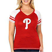 Soft As A Grape Women's Philadelphia Phillies Tri-Blend V-Neck T-Shirt