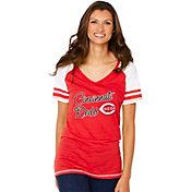 Soft As A Grape Women's Cincinnati Reds Script Red V-Neck Shirt