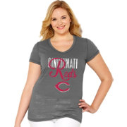 Soft As A Grape Women's Cincinnati Reds Tri-Blend Grey V-Neck T-Shirt - Plus Size