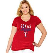 Soft As A Grape Women's Texas Rangers Tri-Blend Red V-Neck T-Shirt