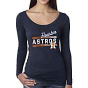 Soft As A Grape Women's Houston Astros Navy Long Sleeve Shirt