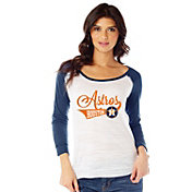 Soft As A Grape Women's Houston Astros Three-Quarter Sleeve Shirt