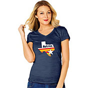 Soft As A Grape Women's Houston Astros V-Neck T-Shirt
