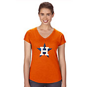 Soft As A Grape Women's Houston Astros Orange V-Neck T-Shirt