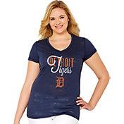 Soft As A Grape Women's Detroit Tigers Tri-Blend Navy V-Neck T-Shirt