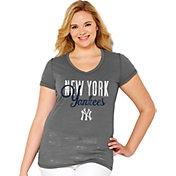 Soft As A Grape Women's New York Yankees Tri-Blend Grey V-Neck T-Shirt