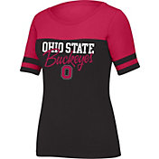 Scarlet & Gray Women's Ohio State Buckeyes Black/Scarlet Stadium T-Shirt