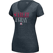 Scarlet & Gray Women's Ohio State Buckeyes Heathered Gray Grand Slam V-Neck T-Shirt
