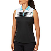 Slazenger Women's City Lights Collection Stripe Sleeveless Golf Polo