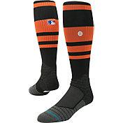 Stance MLB Diamond Pro On-Field Striped Orange and Black Tube Sock