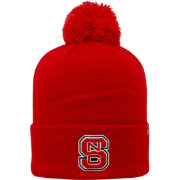Top of the World Men's NC State Wolfpack Red Pom Knit Beanie