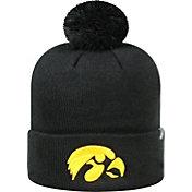 Top of the World Men's Iowa Hawkeyes Black Pom Knit Beanie