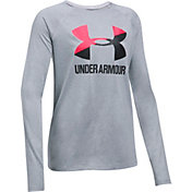 Under Armour Girls' Big Logo Slash Graphic Long Sleeve Shirt