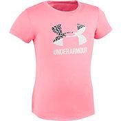 Under Armour Little Girls' Glaze Dot Split Big Logo T-Shirt