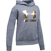 under armour jumper. product image under armour girls\u0027 threadborne fleece metallic big logo hoodie jumper