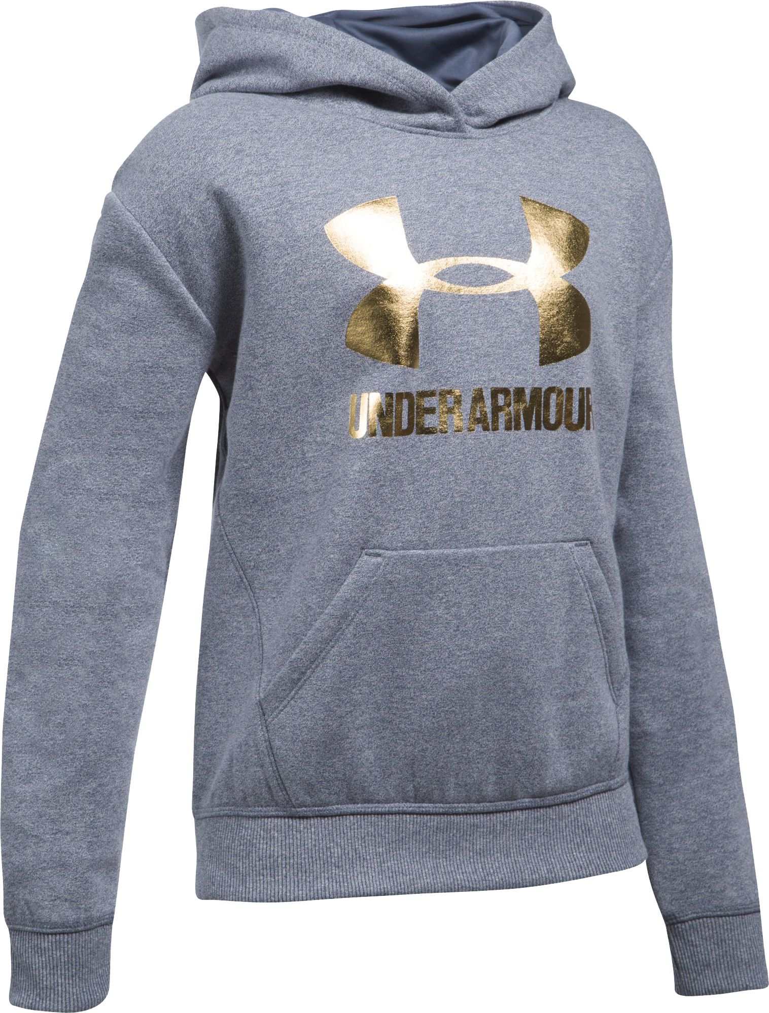 Under Armour Girls' Threadborne Fleece Metallic Big Logo Hoodie ...