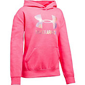 Under Armour Girls' Threadborne Fleece Metallic Big Logo Hoodie