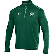 Under Armour Men's Colorado State Rams Green Football Sideline Microthread Quarter-Zip Shirt