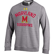 Under Armour Men's Maryland Terrapins Grey Tri-Blend Fleece Crew Sweatshirt