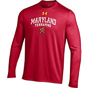 Under Armour Men's Maryland Terrapins Red UA Tech Performance Long Sleeve Shirt