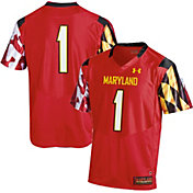 Under Armour Men's Maryland Terrapins Red #1 Replica Football Jersey