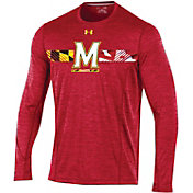 Under Armour Men's Maryland Terrapins Red Long Sleeve Training T-Shirt