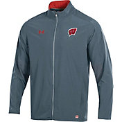 Under Armour Men's Wisconsin Badgers Grey Football Sideline Charger Warm-Up Jacket