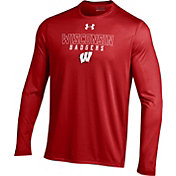 Under Armour Men's Wisconsin Badgers Red UA Tech Performance Long Sleeve Shirt