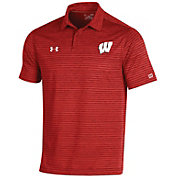 Under Armour Men's Wisconsin Badgers Red Trajectory Polo