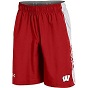 Under Armour Men's Wisconsin Badgers Red Woven Training Shorts