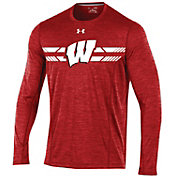 Under Armour Men's Wisconsin Badgers Red Football Sideline Training Long Sleeve Shirt