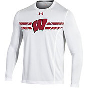 Under Armour Men's Wisconsin Badgers White Football Sideline Training Long Sleeve Shirt