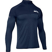 Under Armour NFL Combine Authentic Men's Seattle Seahawks Tech Novelty Navy Quarter-Zip Pullover