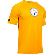 Under Armour NFL Combine Authentic Men's Pittsburgh Steelers Logo Gold Tech Performance T-Shirt
