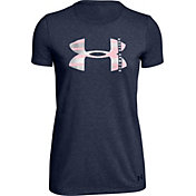 Under Armour Women's Wordmark Striped Big Logo Graphic T-Shirt