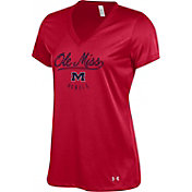 Under Armour Women's Ole Miss Rebels Red Tech V-Neck Performance T-Shirt