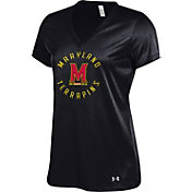 Under Armour Women's Maryland Terrapins 'Maryland Pride' V-Neck Performance Black T-Shirt