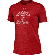 Under Armour Women's Wisconsin Badgers Red Crew Tri-Blend T-Shirt