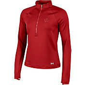 Under Armour Women's Wisconsin Badgers Red Terry Back Half-Zip Shirt