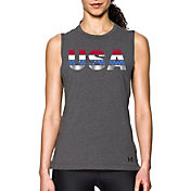 Under Armour Women's Metallic USA Graphic Muscle Tank Top