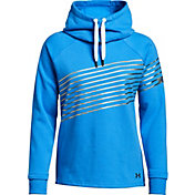 Under Armour Women's Threadborne Fleece Metallic Stripe Funnel Neck Hoodie